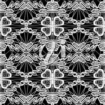 Seamless pattern - floral lace ornament - white and black background.