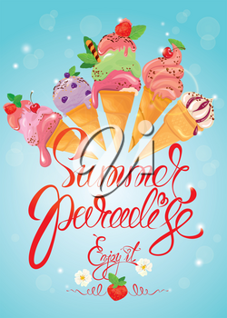 Greeting card with ice cream cones on blue background. Calligraphic handdrawn text Summer Paradise, Enjoy it. Seasonal summer, vacations or travel design.