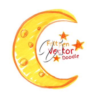 Felt pen drawing of crescent. Vector illustration. isolated.