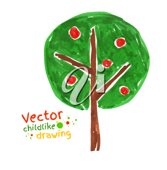 Childlike drawing of apple tree. Vector illustration. Isolated.