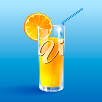 A glass of orange juice. Isolated.