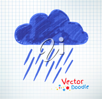 Vector illustration of pouring rain and cloud. Felt pen childlike drawing on checkered notebook paper.
