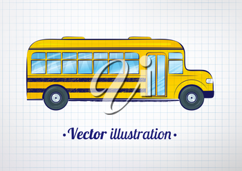 Vector illustration of school bus on checkered school notebook background.