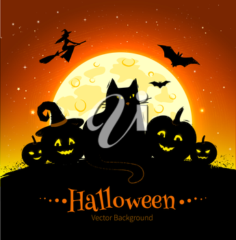 Happy Halloween vector black and orange background with full moon, black cat and pumpkins.