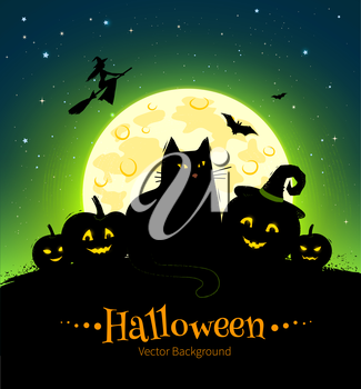 Halloween vector black and green background with moon, black cat and pumpkins.
