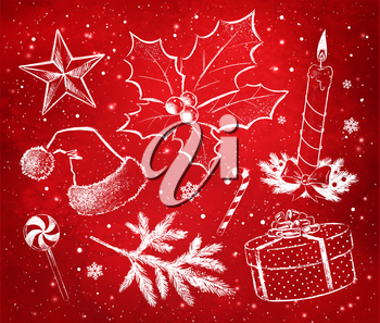 Red and white vector hand drawn Christmas decoration set on watercolor grunge background with falling snow and light sparkles.