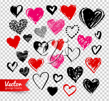 Vector hand drawn collection of grunge Valentine hearts on transparency background.