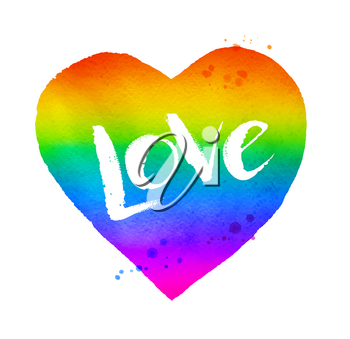 Vector watercolor sketch of rainbow colored heart with Love word lettering isolated on white background.