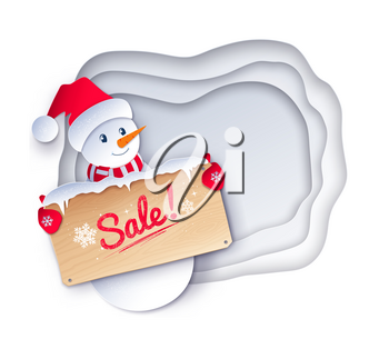 Vector paper cut style illustration of cute Snowman character with sale wooden signboard on white layered shapes banner background.