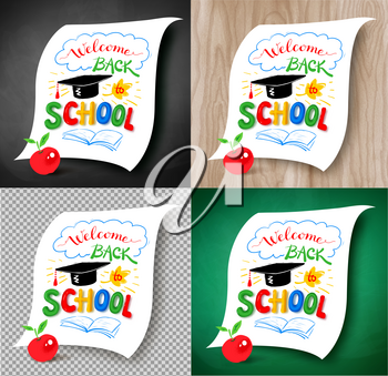 Collection of illustrations of Welcome Back to School lettering with graduation hat and plasticine letters on light wood, chalkboard and transparency background.