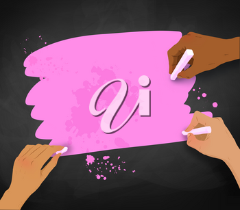 Vector illustration of three female hands drawing with chalk on pink banner on chalkboard background.