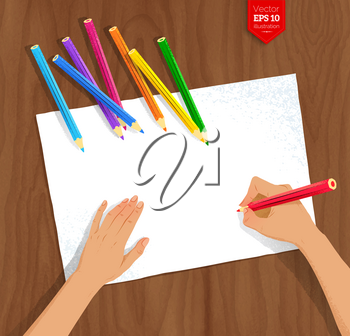 Top view vector illustration of female hands drawing with color pencils on paper sheets on wooden background.