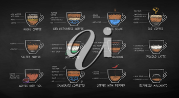 Vector illustration collection of color chalk drawn coffee recipes isolated on chalkboard background