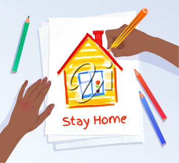 Stay Home concept. Vector illustration