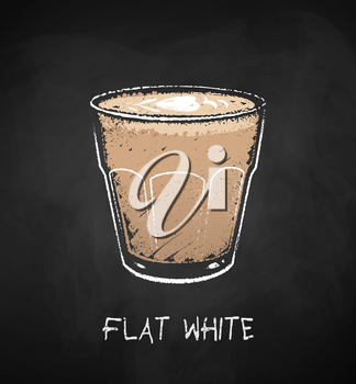Flat White coffee cup isolated on black chalkboard background. Vector chalk drawn sideview grunge illustration.