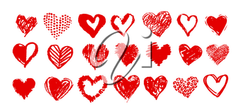 Collection of red grunge vector hand drawn Valentine hearts isolated on white background.