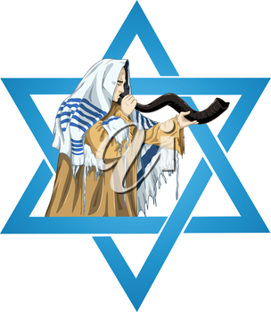 Royalty Free Clipart Image of a Man Playing his Horn in the Star of David