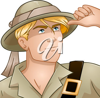 Vector illustration of a blond nature explorer looking up.