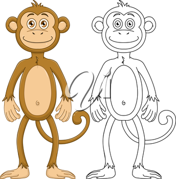 Vector illustration set of a cute monkey standing with lineart.