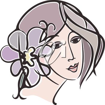 Vector graphic, artistic, stylized image of girl's face