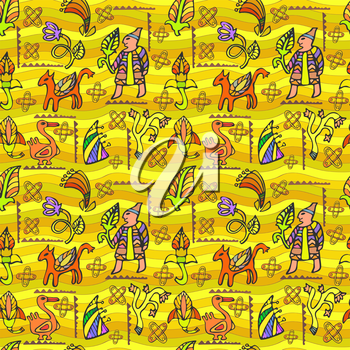 Vector graphic, artistic, stylized image of ethnic decorative seamless pattern