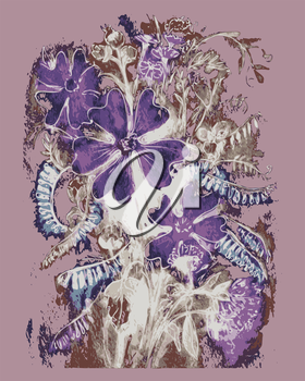 hand drawn, cartoon, sketch illustration of Watercolor Vector bouquet Flowers