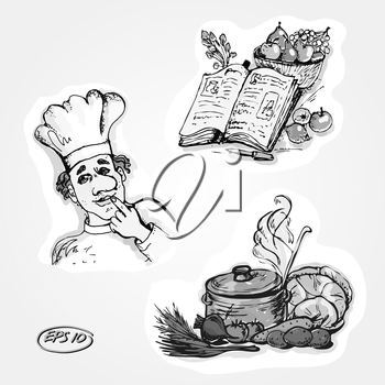 Vector graphic, artistic, stylized set for design - cookbook recipes, cook, pot of soup with vegetables