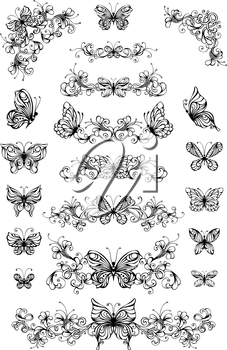 Vintage nature page dividers and decorations with butterflies isolated on white background. Ornate elements for your design.
