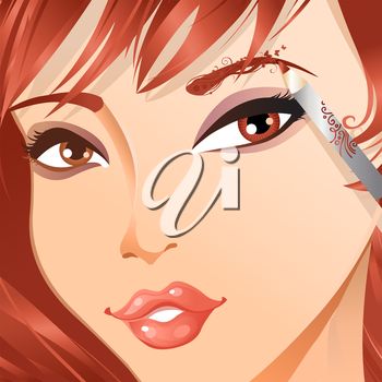 Vector beauty illustration with floral vintage elements.