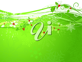 Background with holly berries and snowflakes. There is copy space for your text.