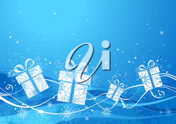 Festive background with gifts, snowflakes and ornate elements. There is copy space for text on blue area.