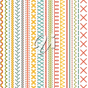 Vector high detailed colourful stitches on white background. Boundless background.