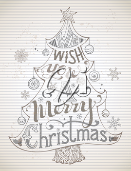 Christmas tree and Christmas baubles on striped vintage background. Hand-written text.