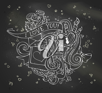 Vector linear design. Music notes, hearts, lock, letter, ribbon, ring, roses, candles, swirls, photo with man and woman silhouettes.