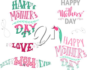 Vector set of unique Mother's Day typographical design elements. Hand-drawn doodles lettering isolated on white background.