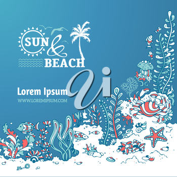 Sea and beach. Various shell, algae, fish, starfish, jellyfish, mussels, crab. There is place for text on blue ocean background.