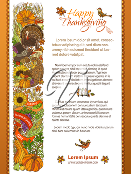 Traditional festive food and autumn symbols. Turkey, pumpkin, corn, apple, wheat and others. Hand-drawn design elements over white background. Copyspace for your text.