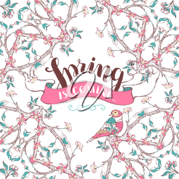 Ornament of spring flowers, leaves and bird on tree branches. Seasonal card template. There is copyspace for your text.