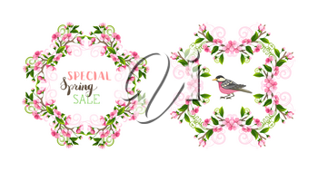 Pink cherry blossoms and leaves on tree branches. Hand-drawn seasonal lettering and flourishes. There is copyspace for your text.