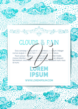 Doodles clouds and rain on white background. Hand-drawn swirls, spirals, drops, strokes and curls. There is copy space for your text on white paper.
