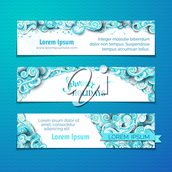 Hand-drawn ornate blue clouds, curls, swirls and spirals. There is copy space for your text on white background. Summer web templates.