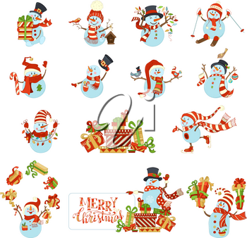 Snowmen are skating, skiing and singing. One is with blank tablet on a heap of gifts. Candy, Christmas gifts, garland, baubles, birds, birdhouse.