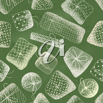 Vector various gift boxes with noise texture. Hand-drawn tileable illustration. Christmas or Birthday boundless background.