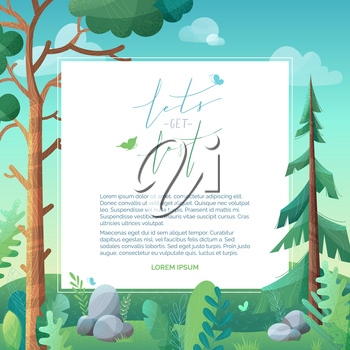 Vector forest background. Pine and fir on green hills. Stones and grass are in foreground. Clouds in the sky. Flat background with stipple texture. White area for your text.