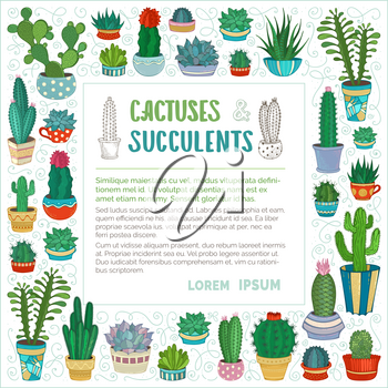 Various cartoon cacti in flower pots and cups. They are with prickles and flowers. There is copyspace for your text inside frame.