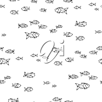 Shoal of hand-drawn sardines on white background. Boundless background can be used for web page backgrounds, wallpapers, wrapping papers and invitations.