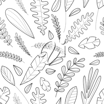 Doodles leaves and grass. Black contours isolated on a white. Hand-drawn boundless background. Can be used for a coloring book for adults.