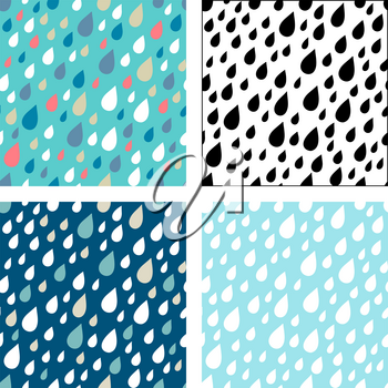 White, black and colored raindrops on various backgrounds. Boundless background can be used for web page backgrounds, wallpapers, wrapping papers and invitations.