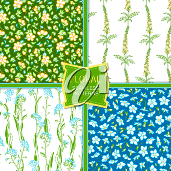 Forget-me-nots and agrimony boundless backgrounds. Yellow, blue and violet tiny flowers and bright green leaves. Tileable design elements.
