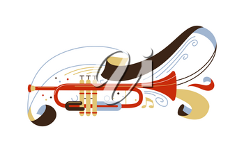 Trumpet flat vector illustration. Professional brass instrument isolated clipart. Classical music ensemble, jazz concert performance. Musician equipment with ribbon and notes drawing
